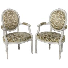 Pair of 19th Century French Antique Louis XVI Style Painted Fauteuils