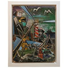 Acrylic on Board Art Deco/Cubist Painting of a Harbor Scene, American, 1930s