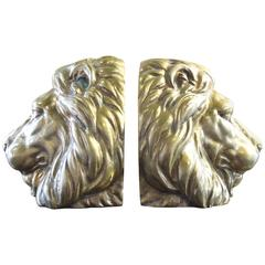 Solid Brass Lion Mid-Century Bookends