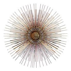 Rare Copper, Brass and Iron Sunburst Mirror by BELA