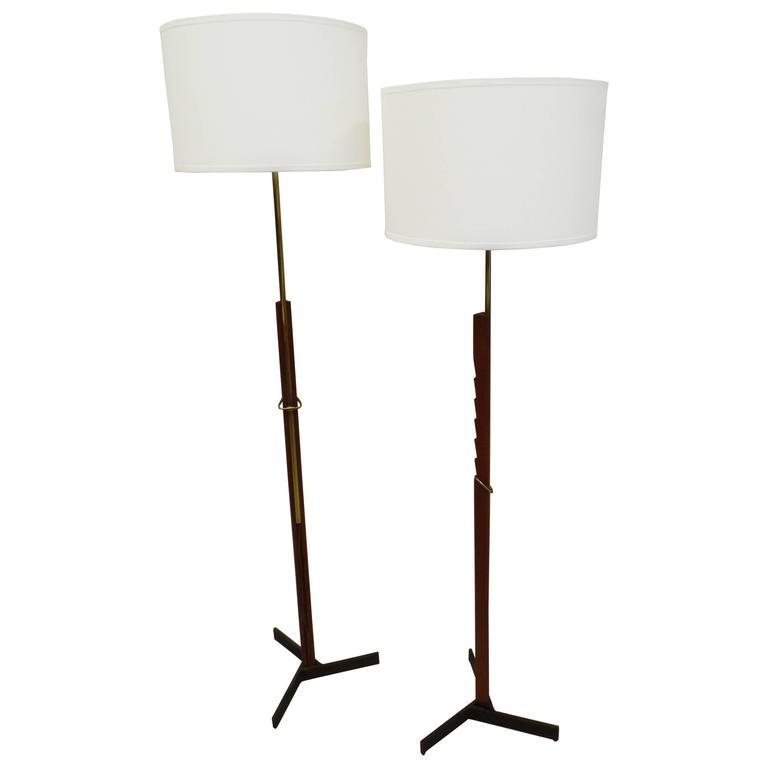 Pair of MId-Century Scandinavian Modern Adjustable Floor Lamps 1