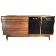 Classic Modernist Walnut and Brass Server or Credenza, American of Martinsville