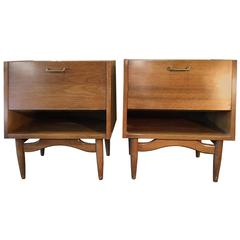 Pair of Mid-Century Modern Walnut Nightstands, American of Martinsville