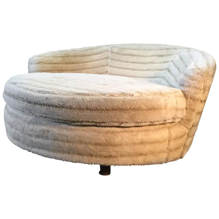 High Quality Large Round Lounge Chair Manner Of Milo Baughman Or Pearsall 1