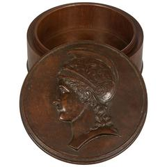 Grand Tour Antique Hand-Carved Wooden Box of a Roman or Greek Soldier