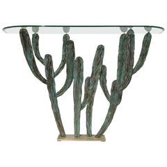 """Bronze Cactus Console Table """"Alamo"""" by Alain Chevet"""