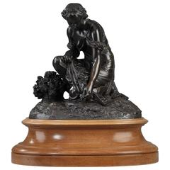 Bronze Statue of Woman Picking Flowers by Pierre Alexandre Schoenewerk