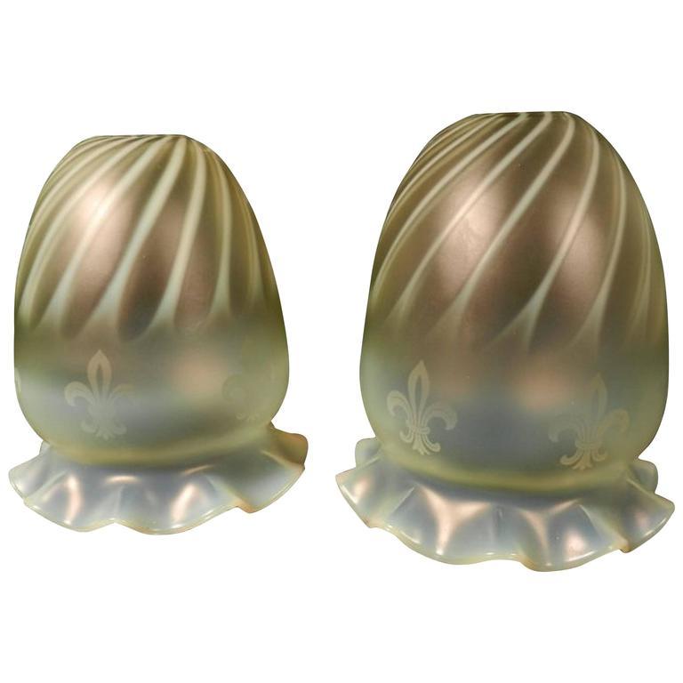Pair of Vaseline Shades with Acid Etched Fleur-de-Lys For Sale