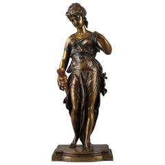 Late 19th Century Bronze Sculpture Diana by Anatole J. Guillot