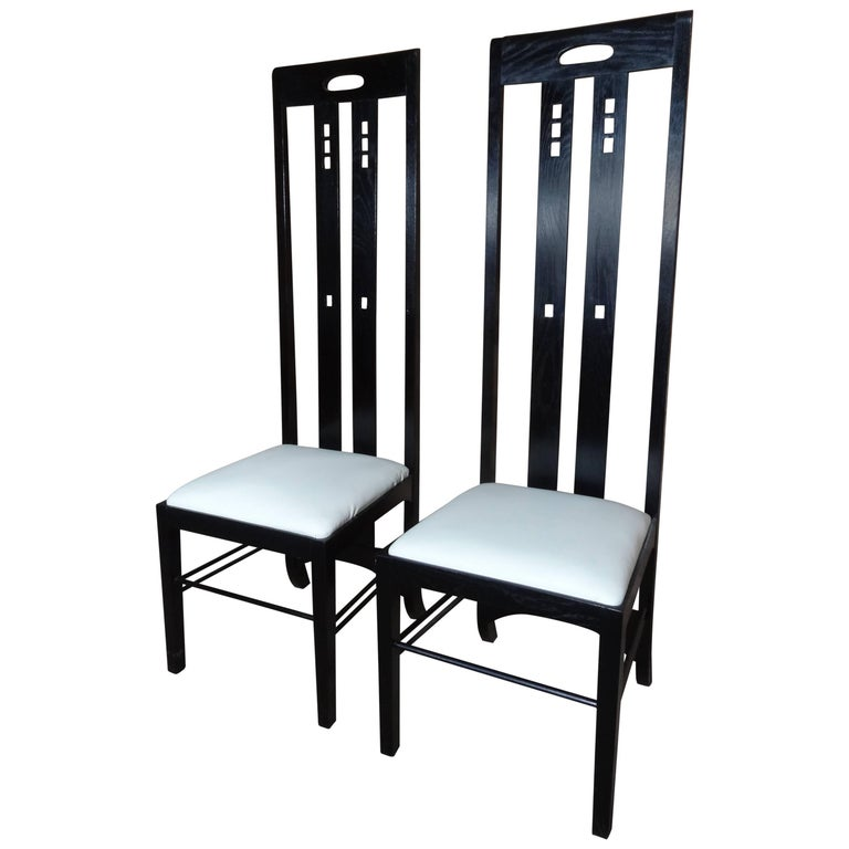 Art Nouveau Style Black Lacquer High Back Chairs, Labeled Macintosh For Sale