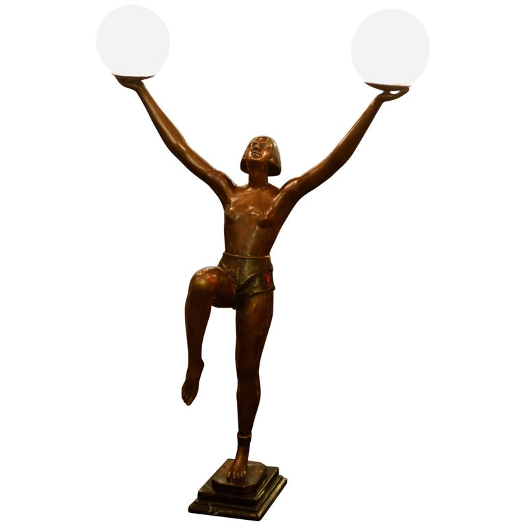 Lady Table Lamp in Bronze on Marble Base For Sale