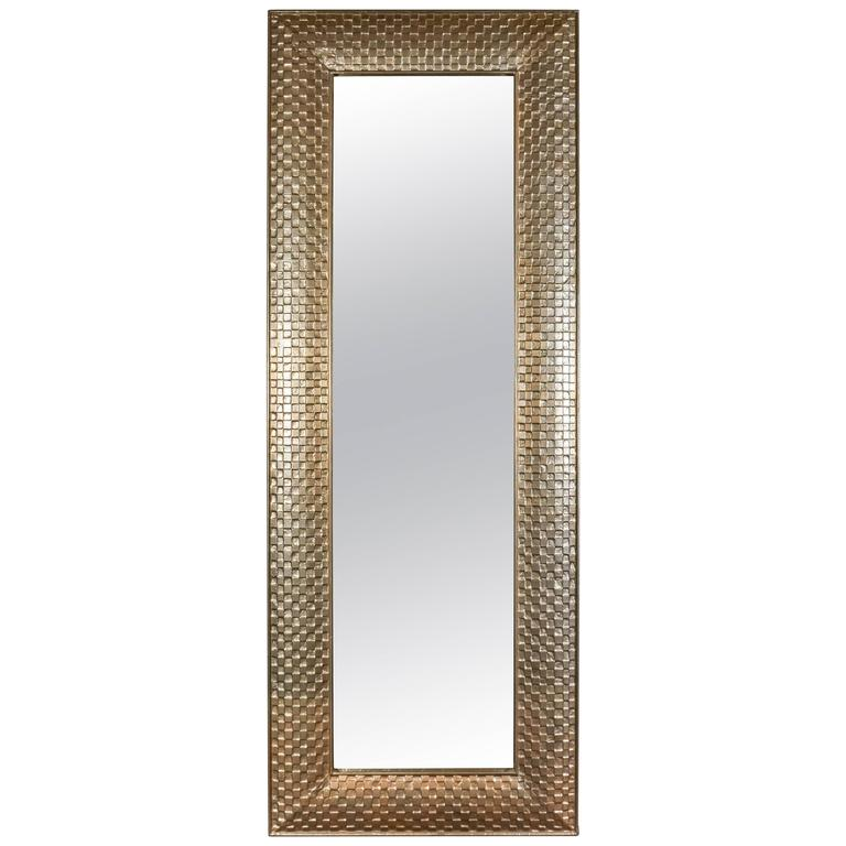 Very tall metal clad rectangular mirror with cubist motif for White floor length mirror