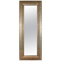 Very Tall Metal Clad Rectangular Mirror with Cubist Motif in Silvery, White Gold