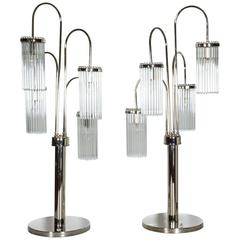 Tall Pair of Polished Nickel and Glass Rod Modernist Table Lamps