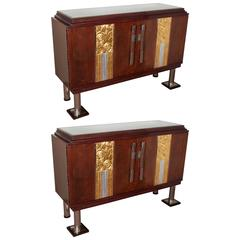 Pair of French Art Deco Hand Gold and Silverleaf Cabinets, 1925
