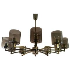 Ten-Light Mid-Century Design Brass and Smoked Glass Chandelier