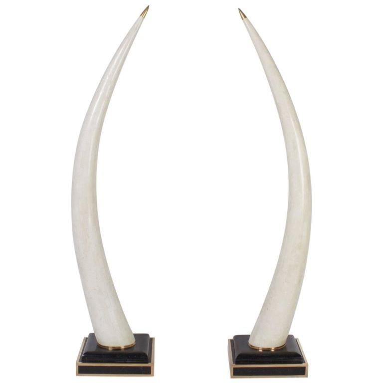 Mid-Century Pair of Faux Elephant Tusks