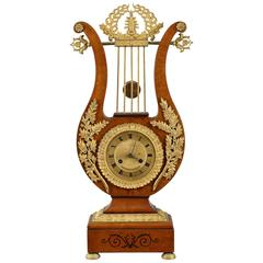 Charles X Lyre-Shaped Mantel Clock