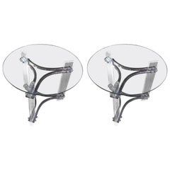 Pair of Mid-Century Modern Lucite, Chrome and Glass Side Tables