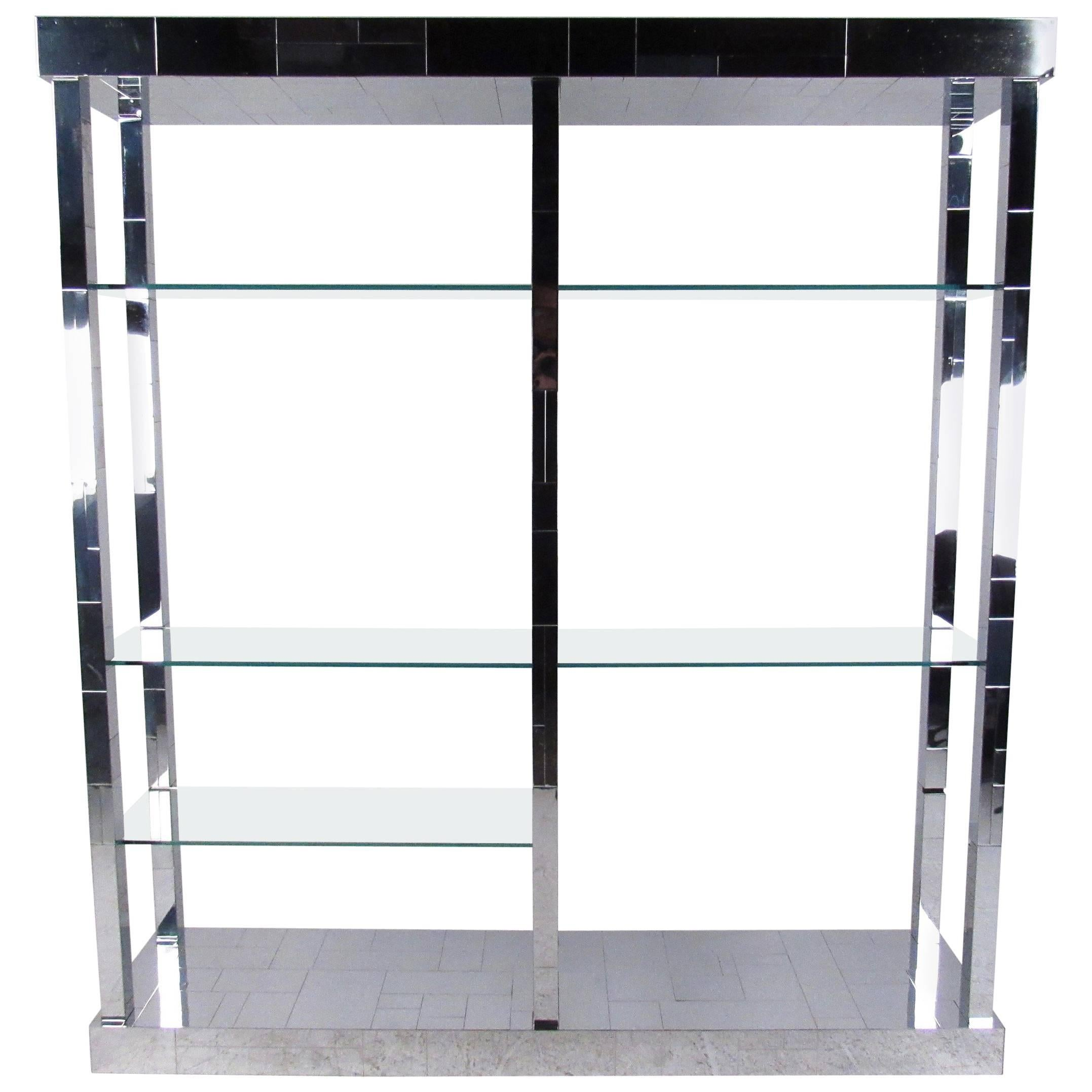 """Paul Evans """"Cityscape"""" Display Shelf in Chrome and Glass"""