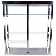 "Paul Evans ""Cityscape"" Display Shelf in Chrome and Glass"