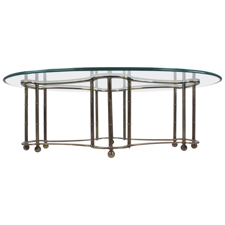 Glass and Brass Coffee Table by Mastercraft
