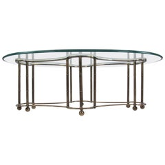 Mid-Century Glass and Brass Coffee Table by Mastercraft