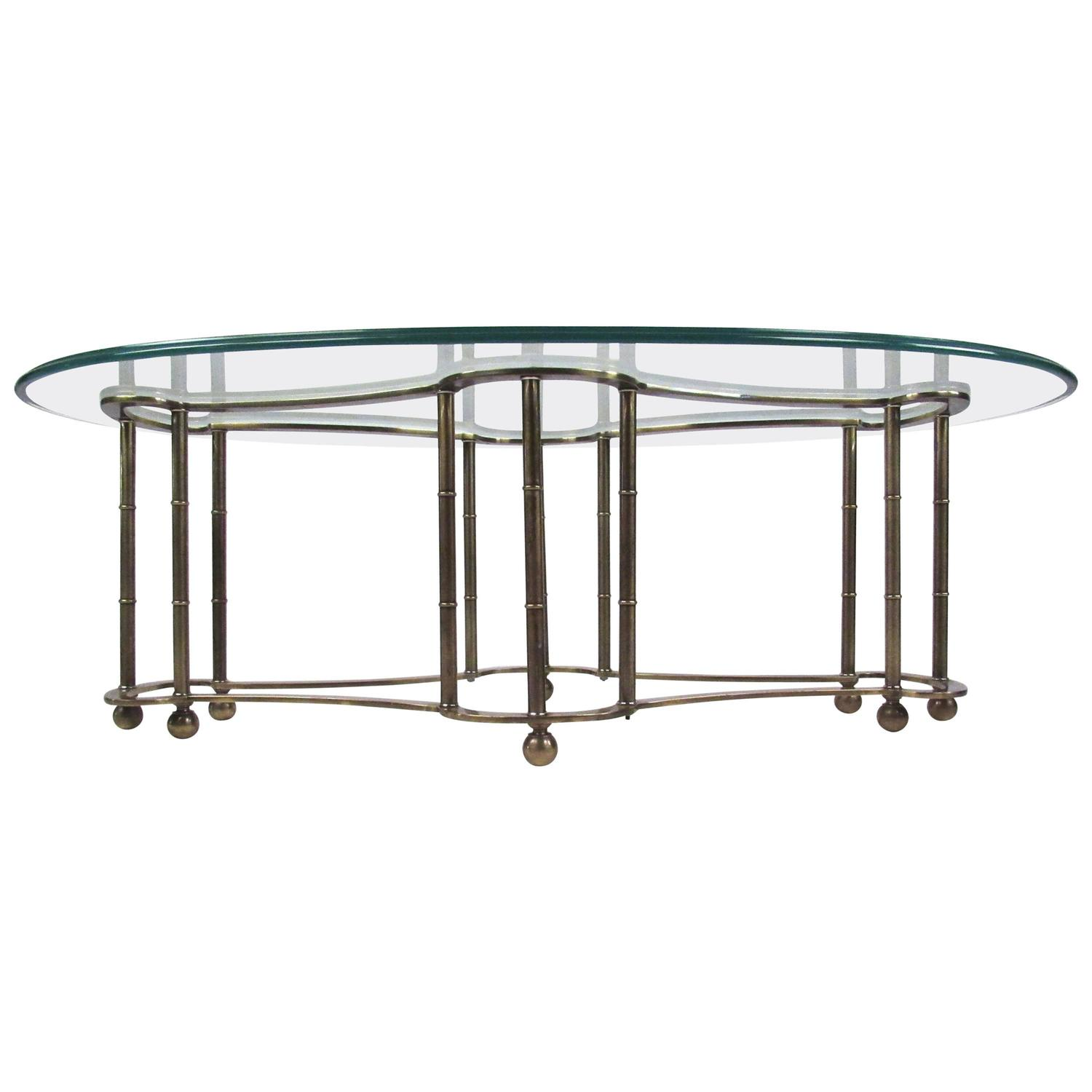 Glass and Brass Coffee Table by Mastercraft For Sale at 1stdibs