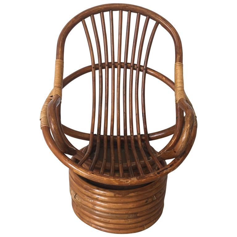 1950s Childrenu0027s Rattan Swivel Chair 1