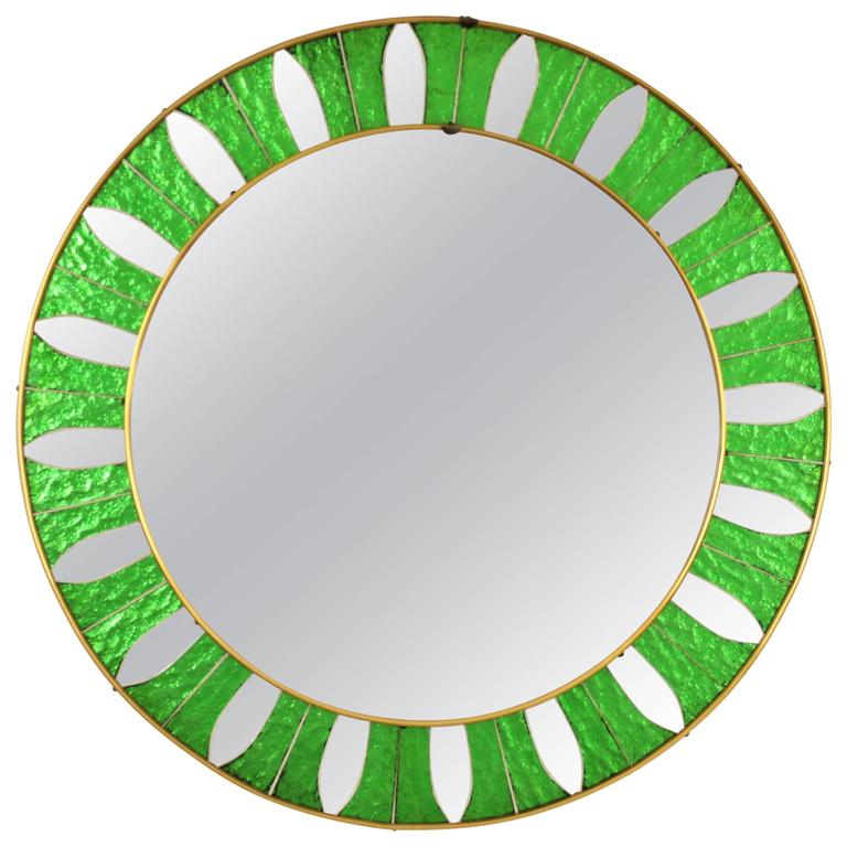 Mid-Century Modern Round Mirror Framed with Green Mirrored Glasses