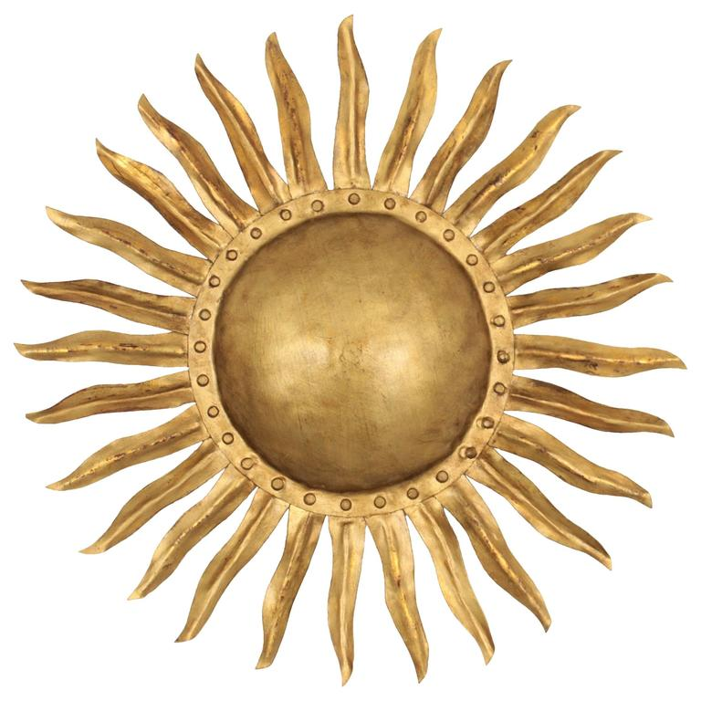 1940s Spanish Gilt Iron Sunburst Wall Sconce or Ceiling Light Fixture