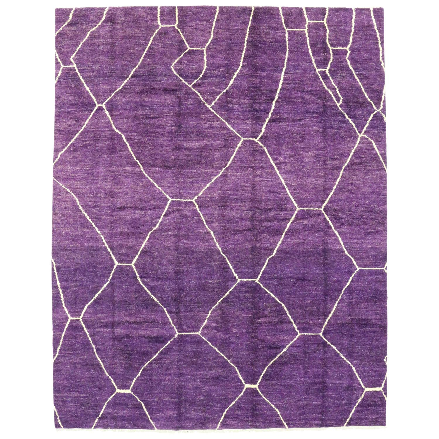 Contemporary Purple Moroccan Style Rug For Sale At 1stdibs
