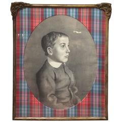 Wonderfully Framed and Matted Charcoal Portrait of a Boy
