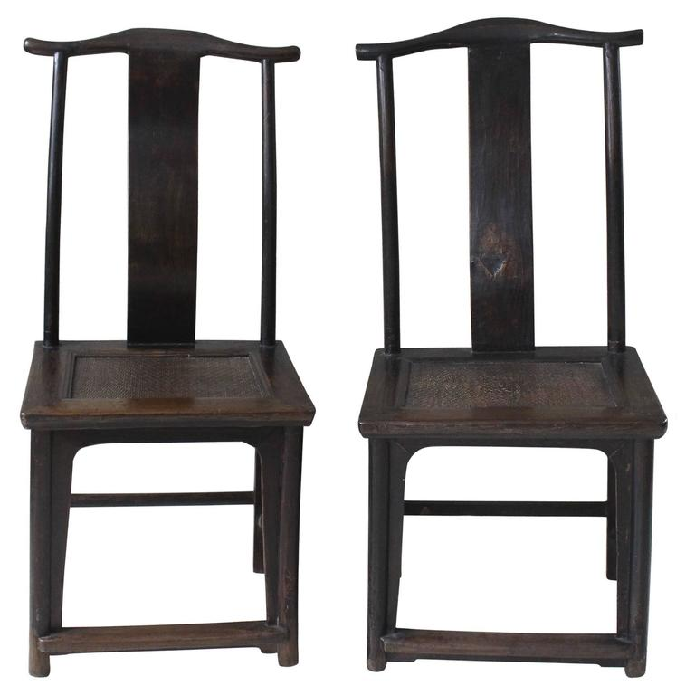 Superieur Pair Of Antique Yoke Back Chinese Chairs For Sale