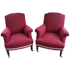 Pair of 19th Century Napoleon III Armchairs in Mixed Media Upholstery