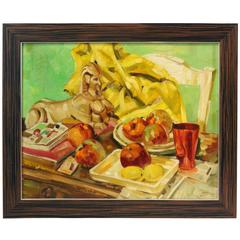 "Oil on Masonite Painting by Ralph Gagnon, Titled ""Apples in a Still Life"""