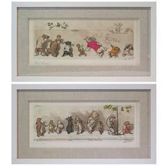 """Set of Two Mid-Century Boris O'Klein Prints, """"The Dirty Dogs of Paris"""" Series"""