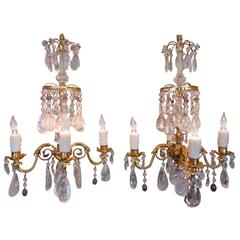 Pair of 19th Century French Russian Style Amethyst and Rock Crystal Chandeliers