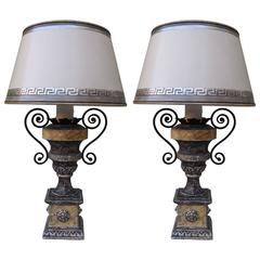Pair of Neoclassical Style Painted Urn Lamps with Shades