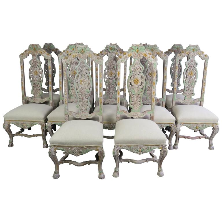 Set of 12 French Painted Dining Chairs at 1stdibs