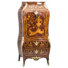 19th Century French Rococo Revival Marquetry Secretaire a Abattant