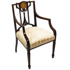 Early 20th Century Edwardian Mahogany Inlaid Armchair