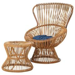 Wicker Franco Albini Margherita Italian Chair and Side Table, 1950s