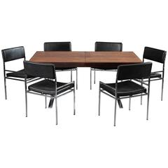 1960s Dining Table and Six Chairs by Poul Norreklit
