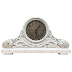 Early 1900 Italy Arts & Crafts White Carrara Marble Mantel Clock, Floral Design