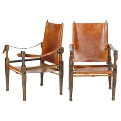 Pair of Swiss Wilhelm Kienzle Safari Chairs Leather, 1950s