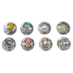 Rare Set of Eight Mongolfiere Plates by Fornasetti