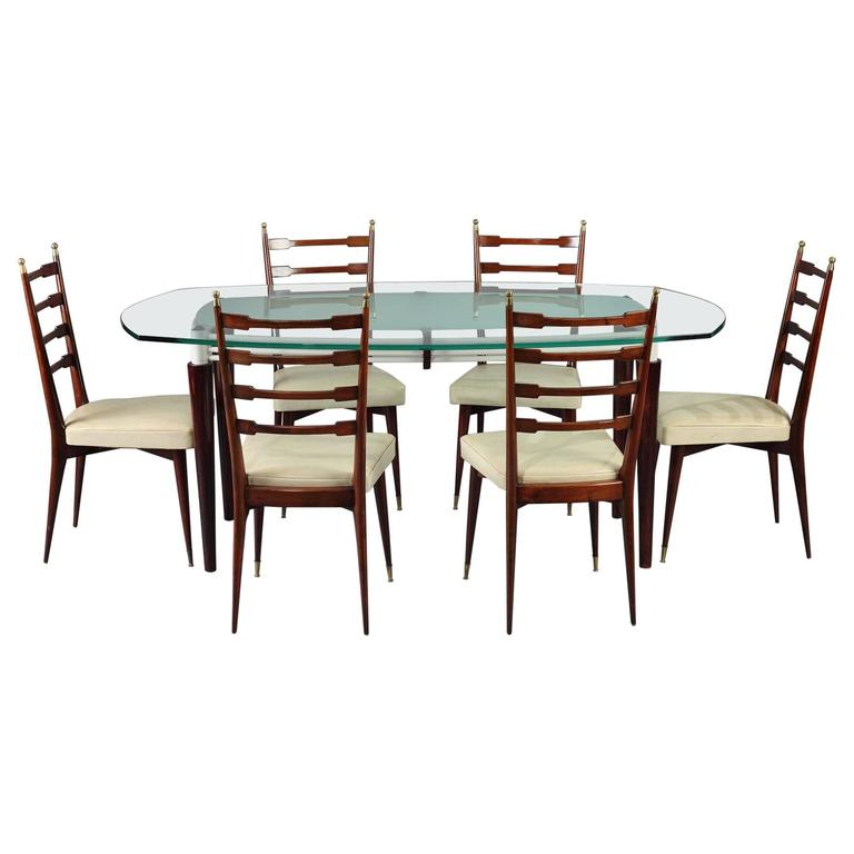20th century dining table and six chairs italian design for sale at 1stdibs - Italian dining table sets ...