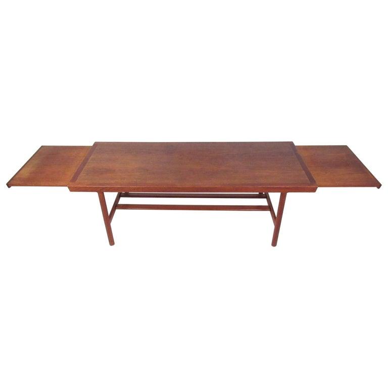 Coffee Table Extendable.Mid Century Danish Teak Extendable Coffee Table