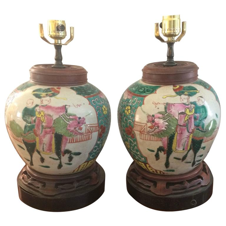 Pair Of Antique Rose Medallion Ginger Jar Table Lamps At